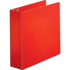 "Business Source Basic Round Ring Binders - 3"" Binder Capacity - Letter - 8 1/2"" x 11"" Sheet Size - Round Ring Fastener(s) - Vinyl - Red - 762 g - 1 Each"
