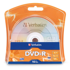 Verbatim DVD Recordable Media - DVD-R - 16x - 4.70 GB - 10 Pack Blister Pack