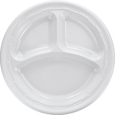 DCC 10CPWF Dart 3-sect Disposable Plastic Dinnerware Plate DCC10CPWF