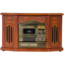 Grace Digital Victoria Tunewriter-GDI-TW3USB 7-in-One Stereo Entertainment Center- Paprika