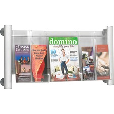 "Safco Elegant Luxe Magazine Wall Rack - 3 x Magazine, 6 x Pamphlet - 3 Pocket(s) - 15.3"" Height x 31.8"" Width x 5"" Depth - Silver Frame, Pocket - Acrylic, Aluminum - 1 Each"