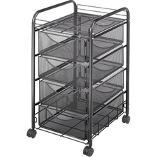 SAF 5214BL Safco Onyx Mesh Steel Frame 4-drawer File Cart SAF5214BL