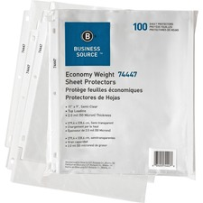 "Business Source Economy Weight Sheet Protectors - 11"" Height x 9"" Width - 0"" Thickness - For Letter 8 1/2"" x 11"" Sheet - Ring Binder - Rectangular - Semi Clear - Polypropylene - 100 / Pack"
