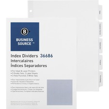 Business Source Punched Tabbed Laser Index Dividers - 5 Blank Tab(s) - 3 Hole Punched - White Paper Divider - White Tab(s) - 5 / Pack