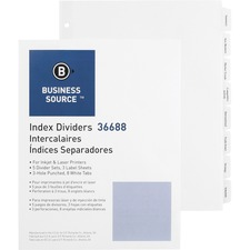 "Business Source Punched Tabbed Laser Index Dividers - 8 Blank Tab(s) - 8.50"" Divider Width x 11"" Divider Length - Letter - 3 Hole Punched - White Paper Divider - White Tab(s) - 5 / Pack"