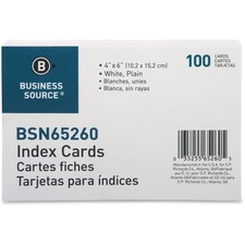 BSN 65260 Bus. Source Plain Index Cards BSN65260