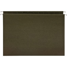 "Business Source Standard Hanging File Folders - Letter - 8 1/2"" x 11"" Sheet Size - 11 pt. Folder Thickness - Green - Recycled - 25 / Box"