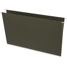 "Business Source Standard Hanging File Folders - Legal - 8 1/2"" x 14"" Sheet Size - 11 pt. Folder Thickness - Green - Recycled - 25 / Box"