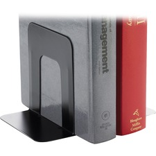 "Business Source Heavy-gauge Steel Book Supports - 5.3"" Height x 5"" Width x 4.8"" Depth - Desktop - Black - Steel - 1Pair"