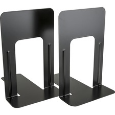 "Business Source Heavy-gauge Steel Book Supports - 8.5"" Height x 9"" Width x 6"" Depth - Desktop - Black - Steel - 2 / Pair"