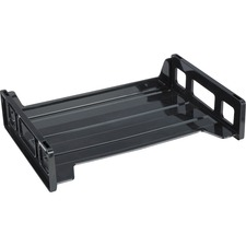 Business Source Side-loading Stackable Letter Trays - Desktop - Stackable - 20% - Black - 1 Each