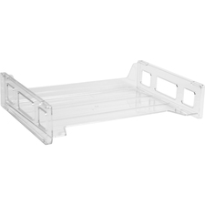 Business Source Side-loading Stackable Letter Trays - Desktop - Stackable - Clear - 1 Each