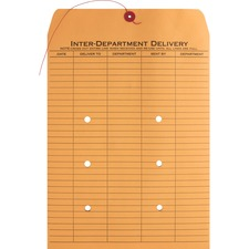 "Business Source 2-sided Inter-Department Envelopes - Inter-department - 10"" Width x 13"" Length - 28 lb - String/Button - Kraft - 100 / Box - Kraft"