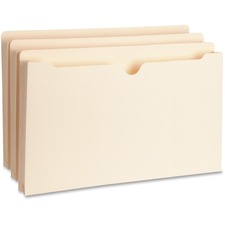 "Business Source Straight Tab Cut Legal Recycled File Pocket - 8 1/2"" x 14"" - 1"" Expansion - Manila - 10% - 50 / Box"