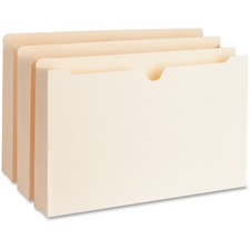 "Business Source Straight Tab Cut Legal Recycled File Pocket - 8 1/2"" x 14"" - 2"" Expansion - Manila - 10% - 50 / Box"