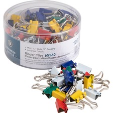 "Business Source Colored Fold-back Binder Clips - Mini - 0.56"" (14.29 mm) Width - 0.3"" Size Capacity - 100 / Pack - Assorted - Steel"