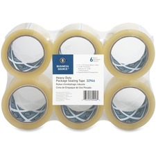"Business Source Heavy-duty Packaging/Sealing Tape - 1.88"" (47.6 mm) Width x 110 yd (100.6 m) Length - 3"" Core - 1.60 mil - Tear Resistant, Split Resistant - 6 / Pack - Clear"