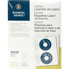 "Business Source Laser/Inkjet CD/DVD Labels - Permanent Adhesive - 4 5/8"" Diameter - Circle - Inkjet, Laser - White - 100 / Pack"