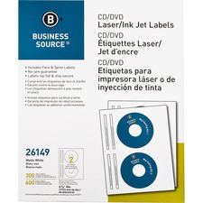 "Business Source Laser/Inkjet CD/DVD Labels - Permanent Adhesive - 4 5/8"" Diameter - Circle - Inkjet, Laser - White - 300 / Pack"