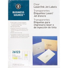 """Business Source Clear Laser Print Mailing Labels - 1"""" x 2 3/4"""" Length - Permanent Adhesive - Rectangle - Laser - Clear - 30 / Sheet - 1500 / Pack"""