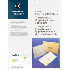 BSN 26122 Bus. Source Clear Laser Print Mailing Labels BSN26122