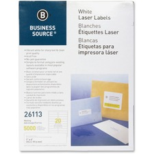 """Business Source Bright White Premium-quality Address Labels - 1"""" x 4"""" Length - Permanent Adhesive - Rectangle - Laser, Inkjet - White - 20 / Sheet - 250 Total Sheets - 5000 / Pack"""