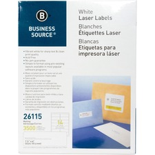 """Business Source Bright White Premium-quality Address Labels - 1 1/3"""" x 4"""" Length - Permanent Adhesive - Rectangle - Laser, Inkjet - White - 14 / Sheet - 250 Total Sheets - 3500 / Pack"""