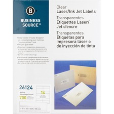 """Business Source Clear Return Address Laser Labels - 1 1/3"""" Height x 4 1/4"""" Width - Permanent Adhesive - Rectangle - Laser - Clear - 14 / Sheet"""