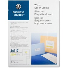 """Business Source Bright White Premium-quality Shipping Labels - 2"""" x 4"""" Length - Permanent Adhesive - Rectangle - Laser, Inkjet - White - 10 / Sheet - 250 Total Sheets - 2500 / Pack"""