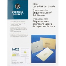 """Business Source Clear Shipping Labels - 2"""" x 4 1/4"""" Length - Permanent Adhesive - Rectangle - Laser - Clear - 10 / Sheet"""