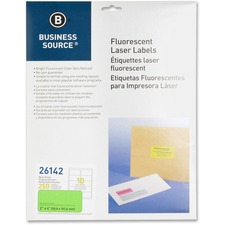 "BSN 26142 Bus. Source 2"" Fluorescent Color Laser Labels BSN26142"