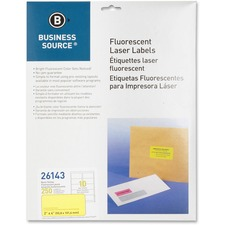 "BSN 26143 Bus. Source 2"" Fluorescent Color Laser Labels BSN26143"