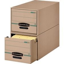 """Recycled Stor/Drawer® - Legal - Internal Dimensions: 15.50"""" (393.70 mm) Width x 23.25"""" (590.55 mm) Depth x 10.38"""" (263.52 mm) Height - External Dimensions: 16.8"""" Width x 25.5"""" Depth x 11.5"""" Height - Media Size Supported: Legal - Stackable - Kraft, Green - For Record Form - Recycled"""