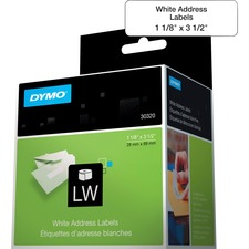 "Dymo High-Capacity Address Labels - Permanent Adhesive - 1 1/8"" Width x 3 1/2"" Length - Rectangle - 1"" Core - Direct Thermal - White - Paper - 260 / Roll"