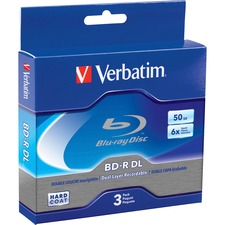 Verbatim BD-R DL 50GB 6X with Branded Surface - 3pk Jewel Case Box - 120mm