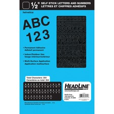 """U.S. Stamp & Sign Letter & Number - Learning Theme/Subject - Self-adhesive - Helvetica Style - Weather Proof - 0.47"""" (12 mm) Height - Black - Vinyl - 1 Each"""