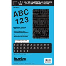"""Headline Stick on Letters and Numbers - Self-adhesive - Water Proof, Permanent Adhesive - 0.25"""" (6.4 mm) Length - Black - Vinyl - 1 Each"""