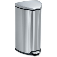 "Safco Hands-free Step-on Stainless Receptacle - 26.50 L Capacity - 21"" Height x 14"" Width x 14"" Depth - Steel - Stainless Steel"