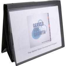 """Business Source Presentation Binder - 1"""" Binder Capacity - Letter - 8 1/2"""" x 11"""" Sheet Size - Ring Fastener(s) - Internal Pocket(s) - Black - Recycled - Business Card Holder, Label Holder"""