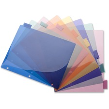 "Business Source 3-Hole Poly Insert Index Dividers - 8 Print-on Tab(s) - 8.50"" Divider Width x 11"" Divider Length - Letter - Plastic Divider - Multicolor Tab(s) - 8 / Set"