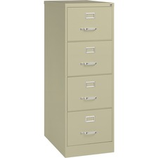 """Lorell Vertical File Cabinet - 4-Drawer - 18"""" x 26.5"""" x 52"""" - 4 x Drawer(s) for File - Legal - Vertical - Lockable, Ball-bearing Suspension, Heavy Duty - Putty - Steel - Recycled"""