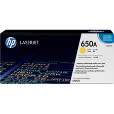 HP 650A Original Toner Cartridge - Single Pack - Laser - 15000 Pages - Yellow - 1 Each