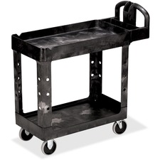 RCP 450088BK Rubbermaid Two-tiered Full Service Utility Cart RCP450088BK