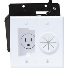 Midlite Power+Port Recessed Receptacle - White
