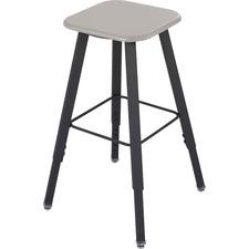 Safco Alpha Better Adjustable Height Stool - Black - Wood - 1 Each