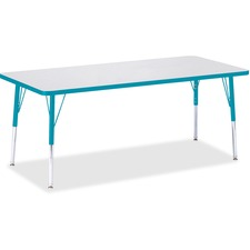 """Berries Elementary Height Color Edge Rectangle Table - Rectangle - 4 Legs - 72"""" x 30"""" x 24"""" - Steel - Gray Top, Teal"""