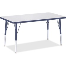Jonti-Craft Elementary Height Color Top Rectangle Table - Rectangle Top - Four Leg Base - 4 Legs - 3