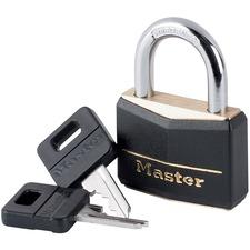 Master Lock 141 Key Padlock - Brass, Vinyl Cover - 1 Each