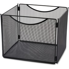 "Safco Onyx Steel Mesh Desktop File Box - 10"" Height x 12.5"" Width x 11"" Depth - Desktop - Compact, Carrying Handle, Collapsible, Portable - Black - Steel"