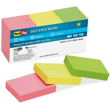 RTG 23701 Redi-Tag Self-Stick Recycled Neon Notes RTG23701